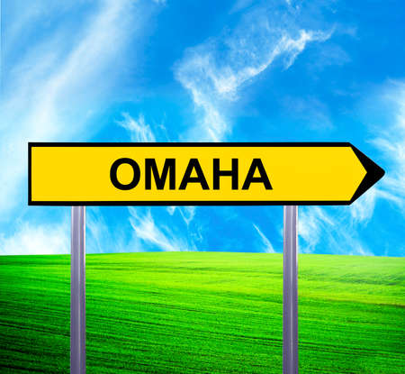 omaha: Conceptual arrow sign against beautiful landscape with text - OMAHA Stock Photo