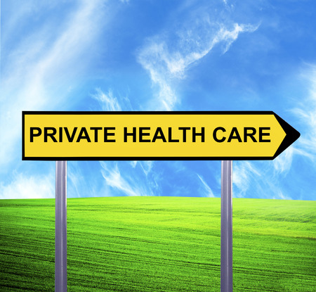 nhs: Conceptual arrow sign against beautiful landscape with text - PRIVATE HEALTH CARE