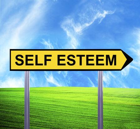 self respect: Conceptual arrow sign against beautiful landscape with text - SELF ESTEEM