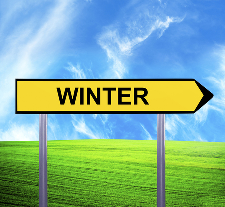 Conceptual arrow sign against beautiful landscape with text - WINTER