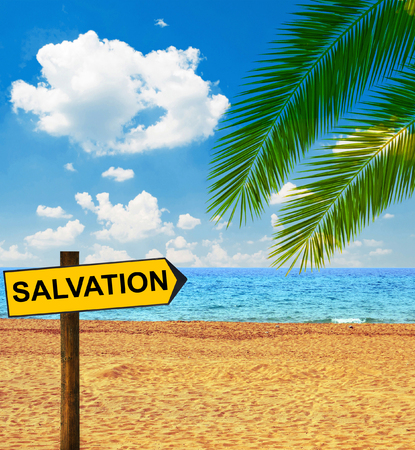 condemnation: Tropical beach and direction board saying WELCOMETropical beach and direction board saying SALVATION