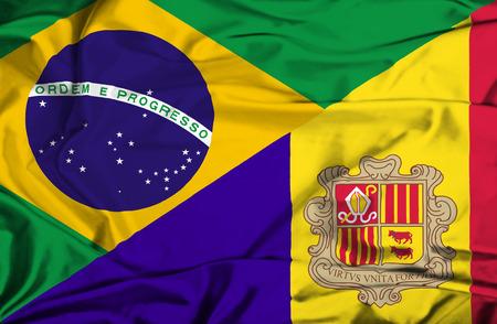 Waving flag of Andorra and Brazil