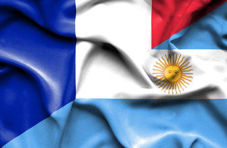 Waving flag of Argentina and France Stock Photo