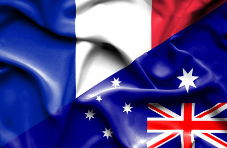 Waving flag of Australia and France