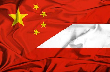 Waving flag of Austria and China