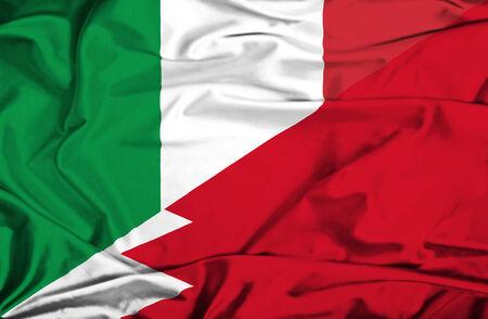 bahrain money: Waving flag of Bahrain and Italy