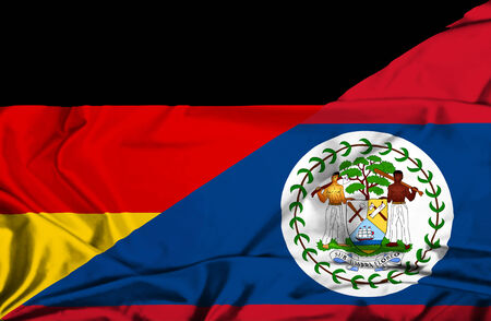 belize: Waving flag of Belize and Germany