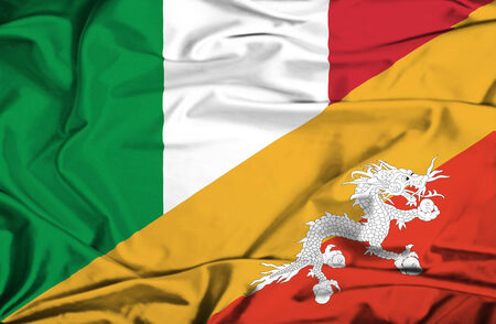 bhutan: Waving flag of Bhutan and Italy
