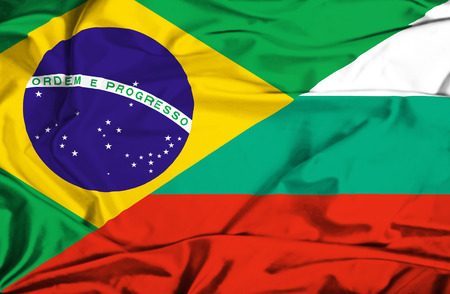 Waving flag of Bulgaria and Brazil Stock Photo