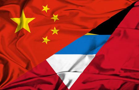 antigua: Waving flag of Antigua and Barbuda and China