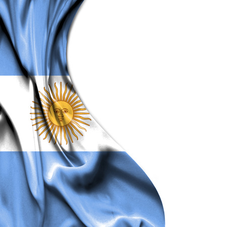 argentina flag: Argentina waving silky flag isolated on white background Stock Photo