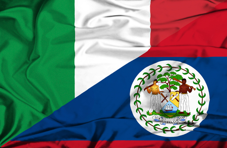 belize: Waving flag of Belize and Italy Stock Photo
