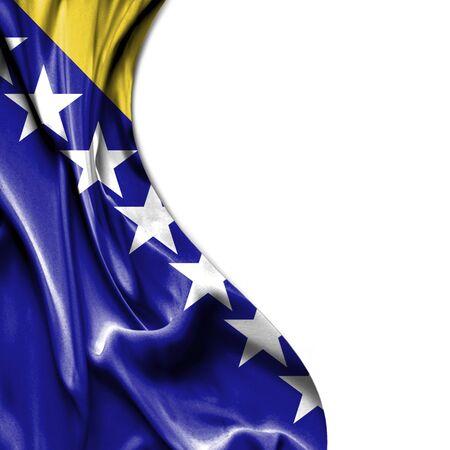 bosnian: Bosnia and Herzegovina waving silky flag isolated on white background
