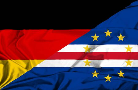 cape verde: Waving flag of Cape Verde and Germany