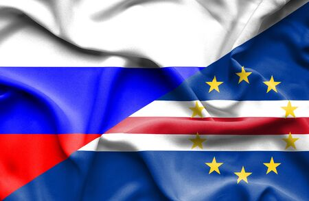 cape verde: Waving flag of Cape Verde and Russia