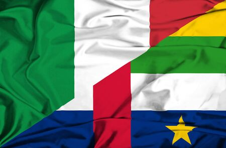 Waving flag of Central African Republic and Italy