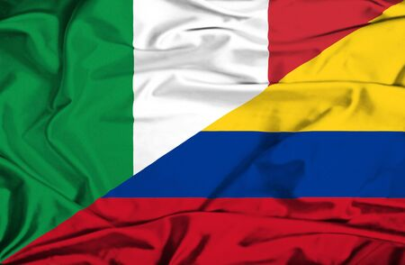 columbia: Waving flag of Columbia and Italy Stock Photo