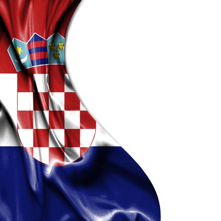 Croatia waving silky flag isolated on white background photo