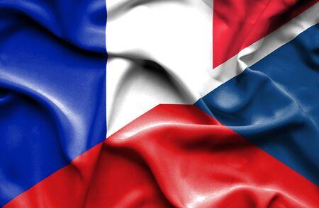the czech republic: Waving flag of Czech Republic and France