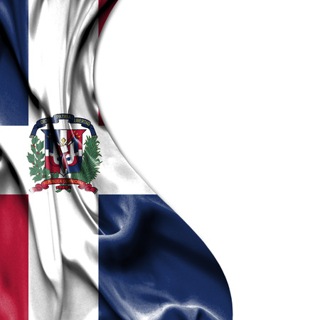 dominican: Dominican Republic waving silky flag isolated on white background
