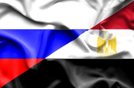 bandera egipto: Ondeando la bandera de Egipto y Rusia Foto de archivo