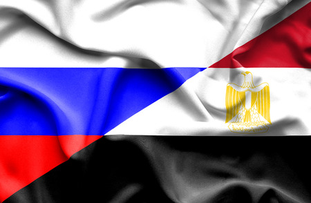 egypt flag: Waving flag of Egypt and Russia