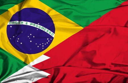 bahrain money: Waving flag of Bahrain and Brazil