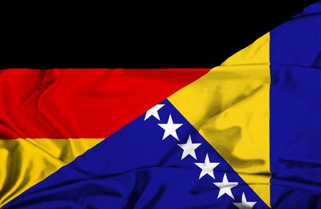 bosnian: Waving flag of Bosnia and Herzegovina and Germany