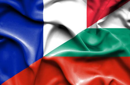 bulgaria: Waving flag of Bulgaria and France