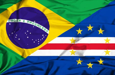 cape verde: Waving flag of Cape Verde and Brazil