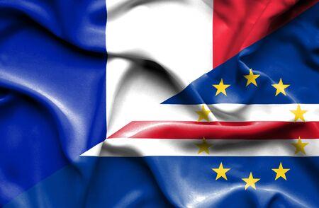 verde: Waving flag of Cape Verde and France