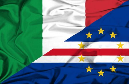 an        verde: Waving flag of Cape Verde and Italy