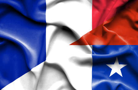 chilean: Waving flag of Chile and France Stock Photo