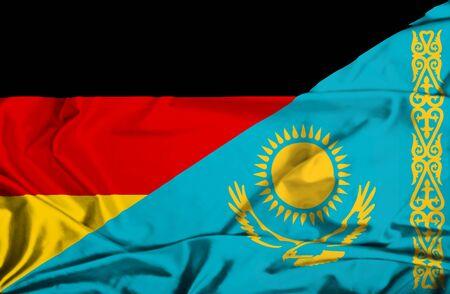 kazakhstan: Waving flag of Kazakhstan and Germany
