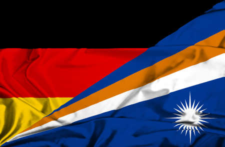 marshall: Waving flag of Marshall Islands and Germany