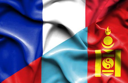 mongolia: Waving flag of Mongolia and France