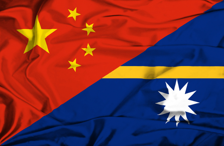 nauru: Waving flag of Nauru and China Stock Photo