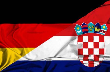 Waving flag of Croatia and Germany Stock Photo