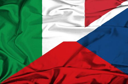 the czech republic: Waving flag of Czech Republic and Italy