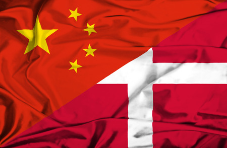 danish flag: Waving flag of Denmark and China