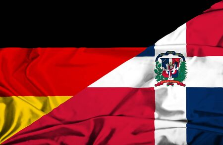 dominican republic: Waving flag of Dominican Republic and Germany