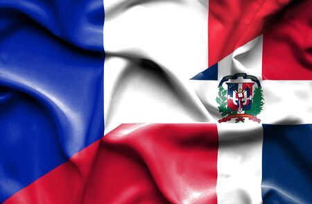 dominican republic: Waving flag of Dominican Republic and France