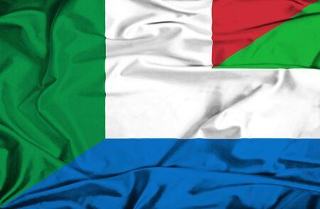 leone: Waving flag of Sierra Leone and Italy