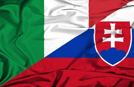 slovakian: Waving flag of Slovakia and Italy Stock Photo