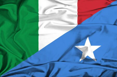 somalian culture: Waving flag of Somalia and Italy