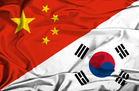 south korea flag: Waving flag of South Korea and China Stock Photo