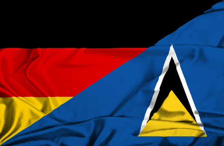 st lucia: Waving flag of St Lucia and Germany