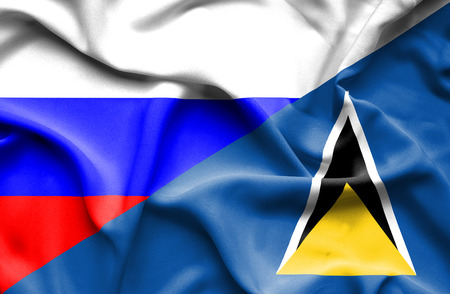 st lucia: Waving flag of St Lucia and Russia
