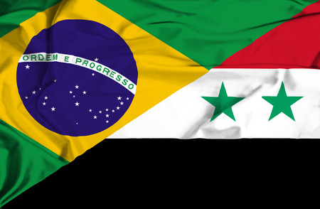 syria peace: Waving flag of Syria and Brazil