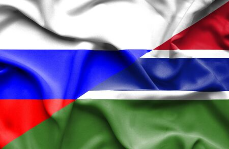 gambia: Waving flag of Gambia and Russia